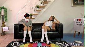 Seductive UK milf pleasures two teen babes