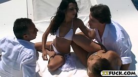 Two stunning babes anal orgy with nasty men in a boat