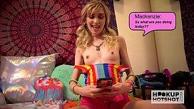 Skinny little slut Mackenzie Moss gets fucked rough by hookup hotshot