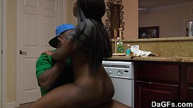 Ebony with booty ass gets fucked while she does dishes