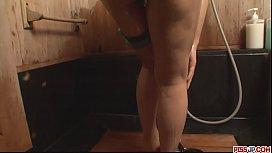 Big ass and oiled up brunette, Yuki Asami teasing in shower - More at Pissjp.com