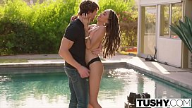 TUSHY Beautiful interracial couple experience anal