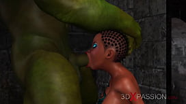 3dxpassion.com. Young horny anal sex slave gets fucked by big green monster in dungeon