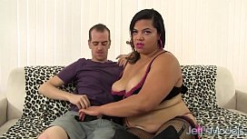 Hairy pussied ebony plumper takes white dick
