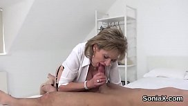 Cheating british mature lady sonia flaunts her large boobs