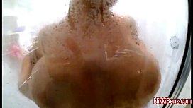 Busty babe Nikki Benz Cums Soaking Wet in Shower!