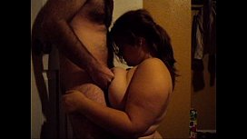 BBW CamGirl gives Blowjob and Ti uck then takes Facial