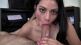 Young brunette to get the job agree to fuck