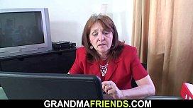 Office granny double penetration