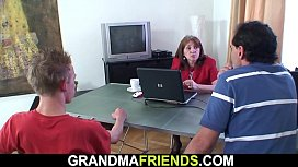 Office granny double penetration