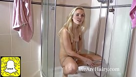 Felicia gets her hairy pussy soaking wet in shower