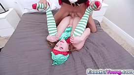 Sexy teen Lizzie Bell enjoys fucking with Santa