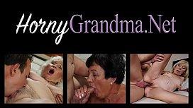 Redhead granny milks cock
