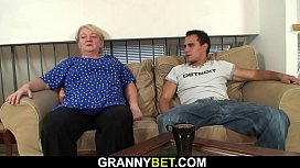 Blonde grandma pleases boy from the street