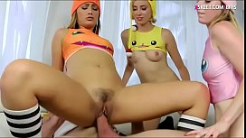 Three blonde girls shared on hard cock