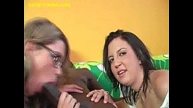 Two sexy Babes Suck Big Black Cock xxx image