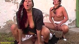 brutal threesome anal orgy at the family farm