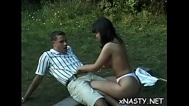 Captivating brunette Debora adores making out with dude