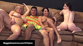 4Some! Maggie Green Jennifer White & Lylith Lavey Fuck Cock!