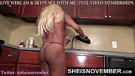 BLONDE SLUT STEP SISTER MSNOVEMBER SHOWS BUTT TITS TO STEP BROTHER IN KITCHEN