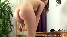 Czech cocksucking amateur swallowing cum pov