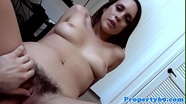 Hairpulled beautiful realtor rides cock