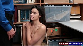 Teen Eden Sin has no other choice and gives in to security guards dirty proposal