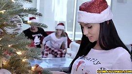Santa Clause lets naughty teen blowjob his santa dick