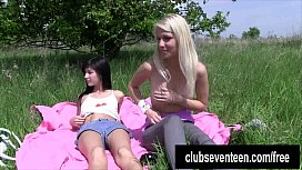 Lesbian teens masturbating outdoors