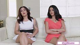 Boss fucks 2 sexy stepsister applicants