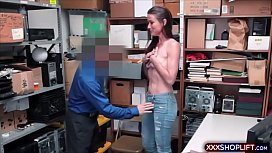 Hot MILF chick gets fucked by a mall cop in the office