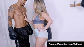 Carmen Valentina Cuckolds Limp Cock Date at the Gym With BBC