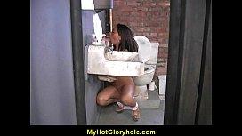 Hot girl sucking big white cock through a gloryhole 15