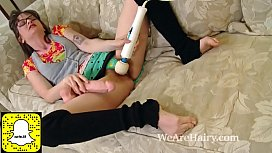 Thelma Sleaze uses a big dildo on her hairy pussy
