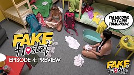 Fake Hostel - Geeky backpacker films two hot girls before getting caught fapping at night and getting lucky with hot skinny brunette who let's him film a video on his phone fucking her and cums in her warm wet mouth