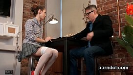 Lovesome bookworm gets seduced and screwed by her elderly schoolteacher