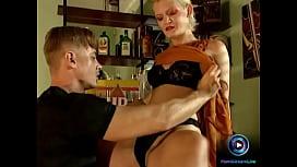 Bi blonde fucking her man throbbing cock