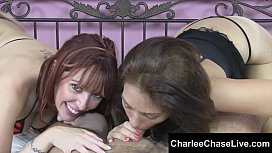 Big Tit Charlee Chase Double Teams a Cock with Sexy Redhead!