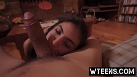 Petite teen Michelle Martinez gives blowjob and gets pussy smashed