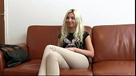 Blonde giving head in office on casting tinymodel nichole
