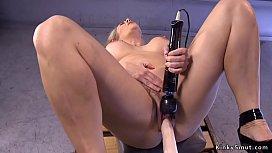Big boobs Milf enjoys fucking machine