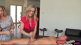 Big boobs stepmom amazing threesome sex on massage table xxx video
