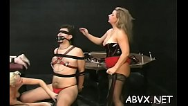 Amateur babe with good forms naughty bondage porn play