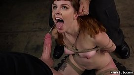 Redhead whipped and mouth fucked