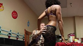 Curly Ebony Banged On Couch
