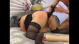 Mature BBW anal fisting in stockings