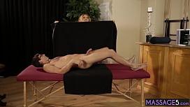 Horny big tits massage professional Krissy Lynn sucks cock before sex