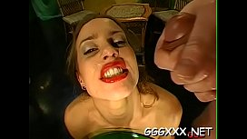 Hot babe takes pleasure in getting her face filled with sex cream