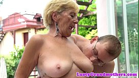 Busty grandma banged from behind outdoors