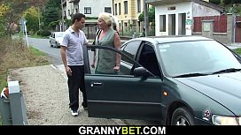 He picks up 70 yo old blonde granny for sex